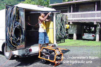 Pacific Underwater's 8gpm portable hydraulic unit