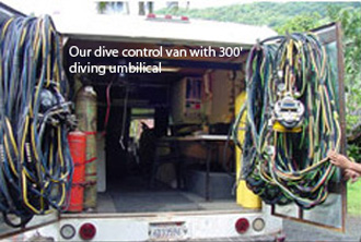 Our dive control van with 300' diving umbilical