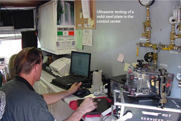 Ultrasonic testing of a mild steel plate in the control center
